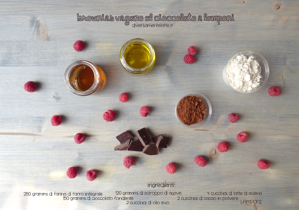 ingredienti brownies vegano cioccolato lamponi