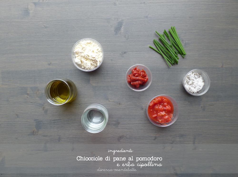 ingredienti chiocciole di pane-al-pomodoro e erba cipollina