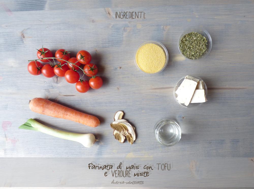 ingredienti farinata di mais con tofu
