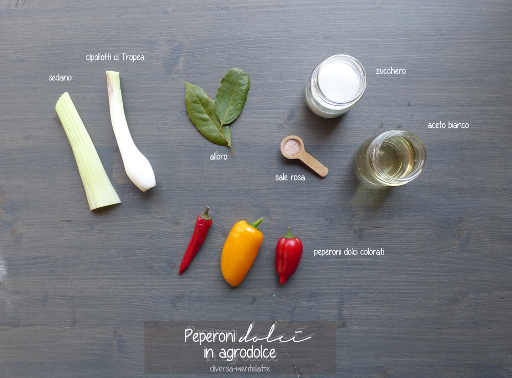ingredienti peperoni dolci in agrodolce