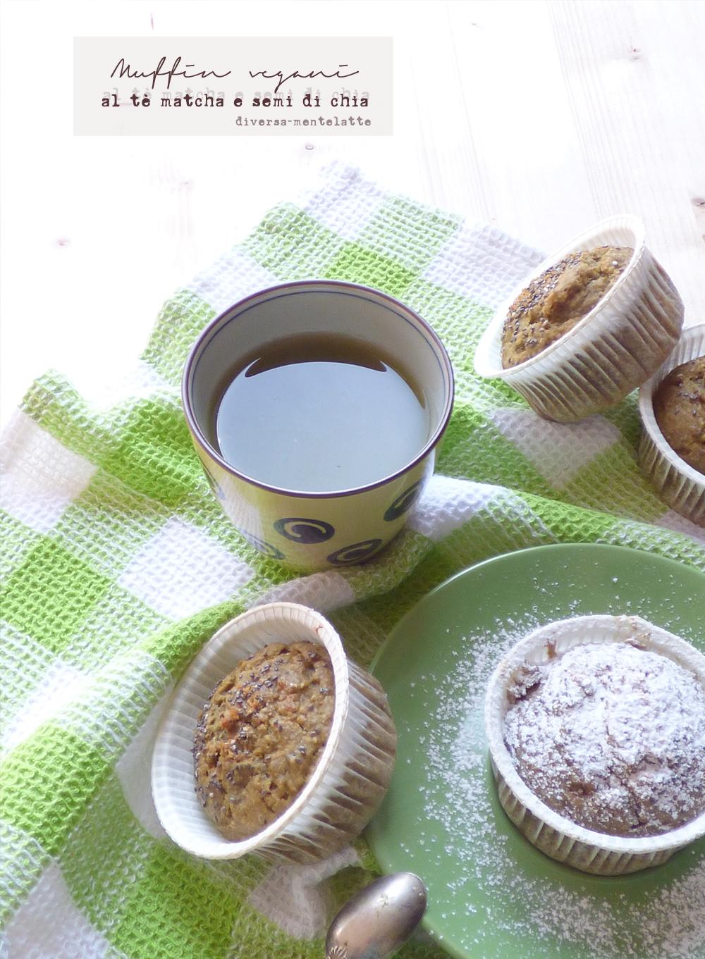 muffin vegani al tè matcha semi di chia