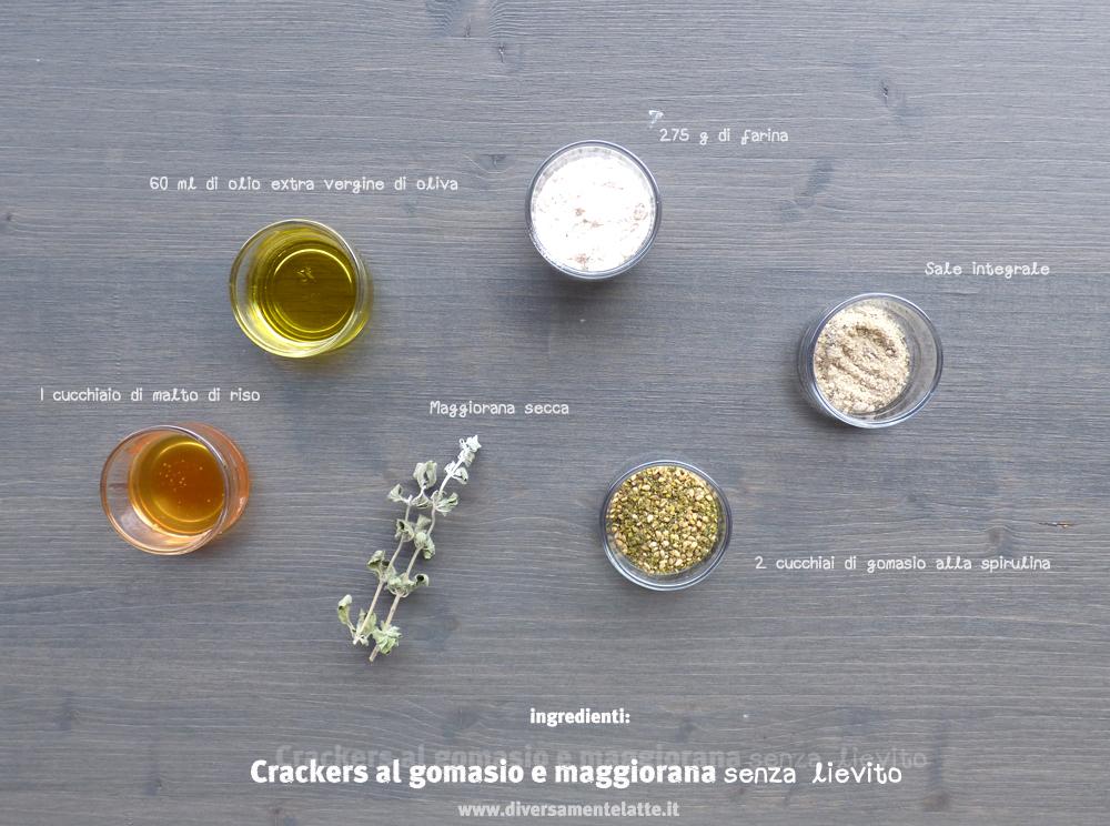 ingredienti crackers al gomasio e maggiorana senza lievito