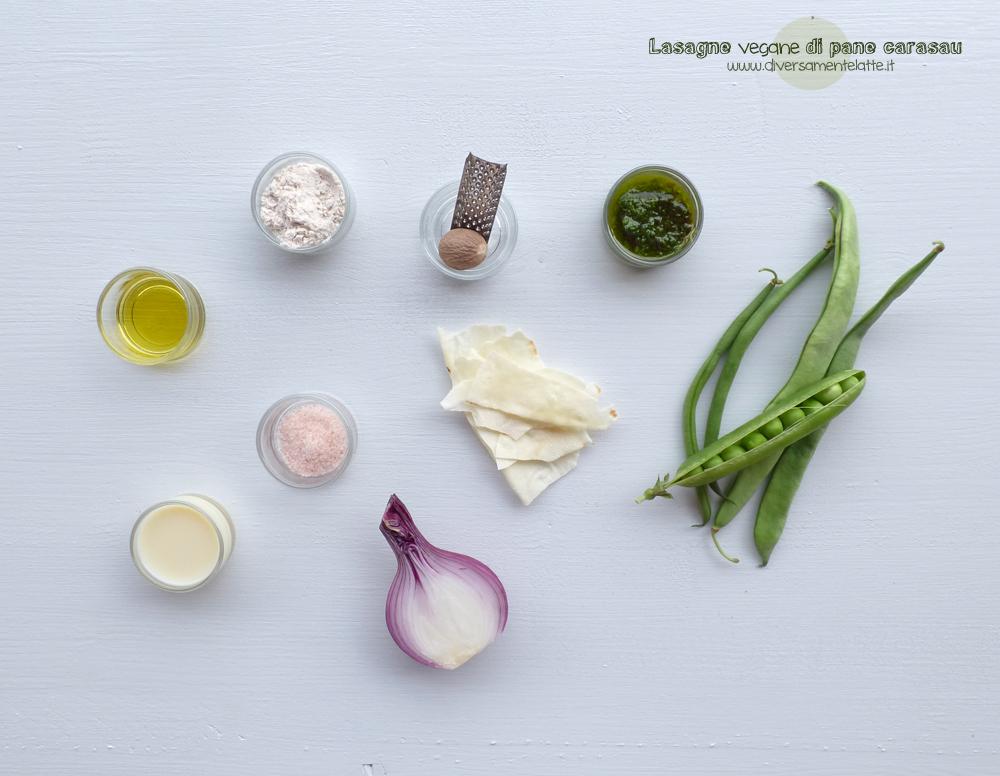 ingredienti lasagne vegane di pane carasau