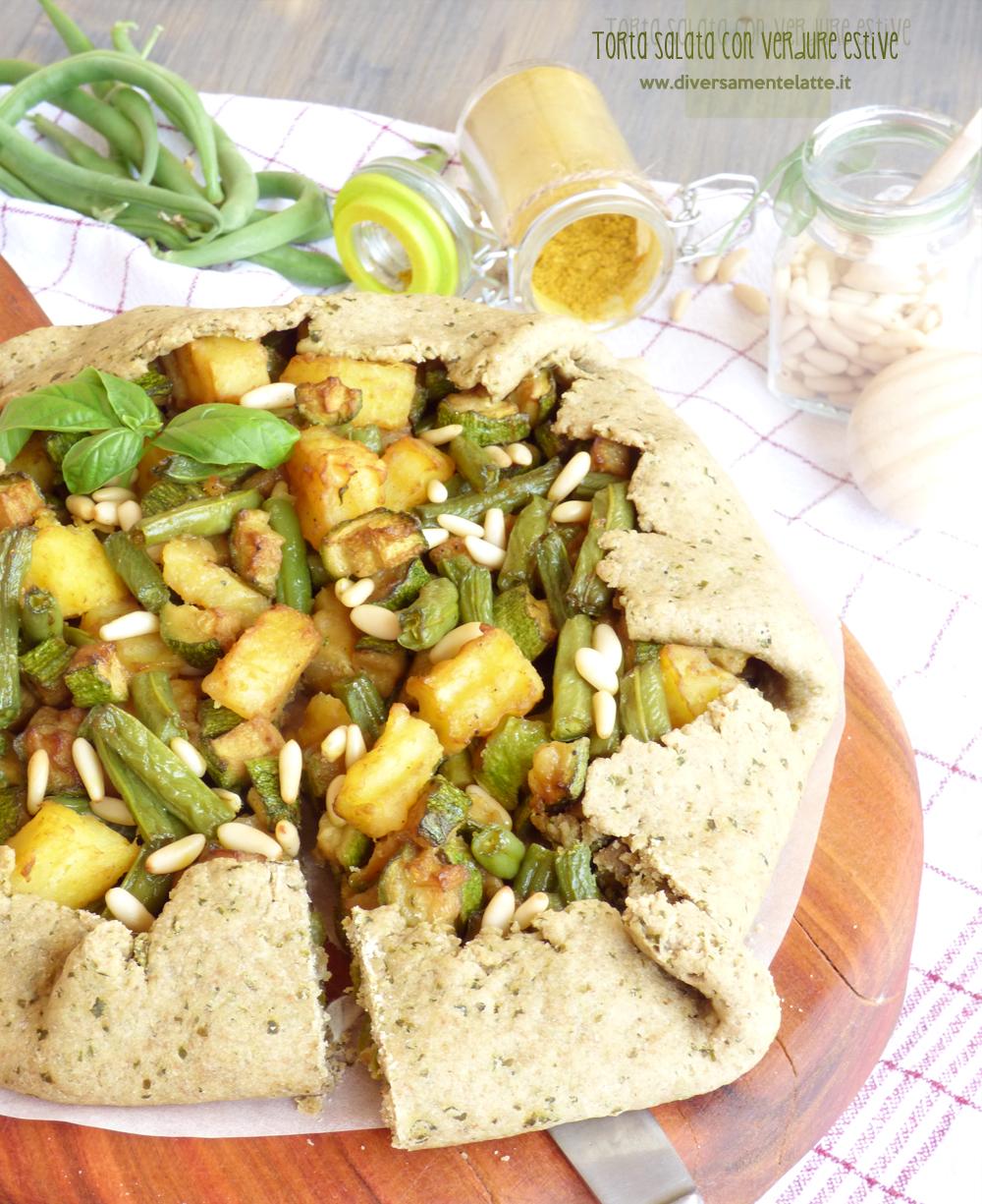 torta salata con verdure estive senza lattosio