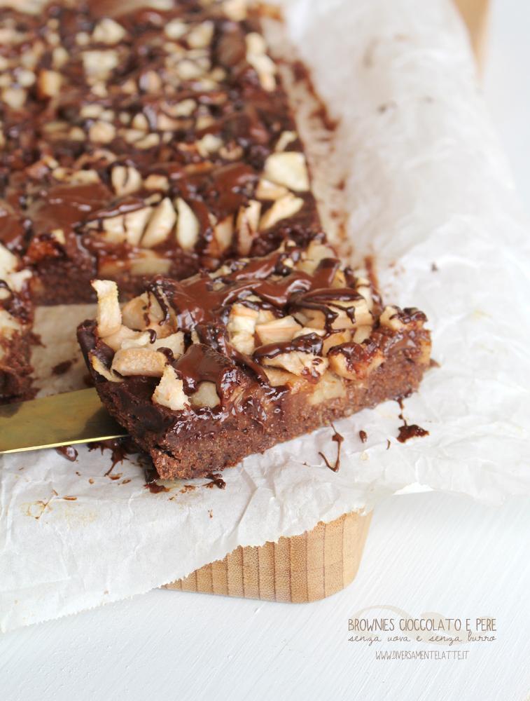 brownies cioccolato e pere senza lattosio