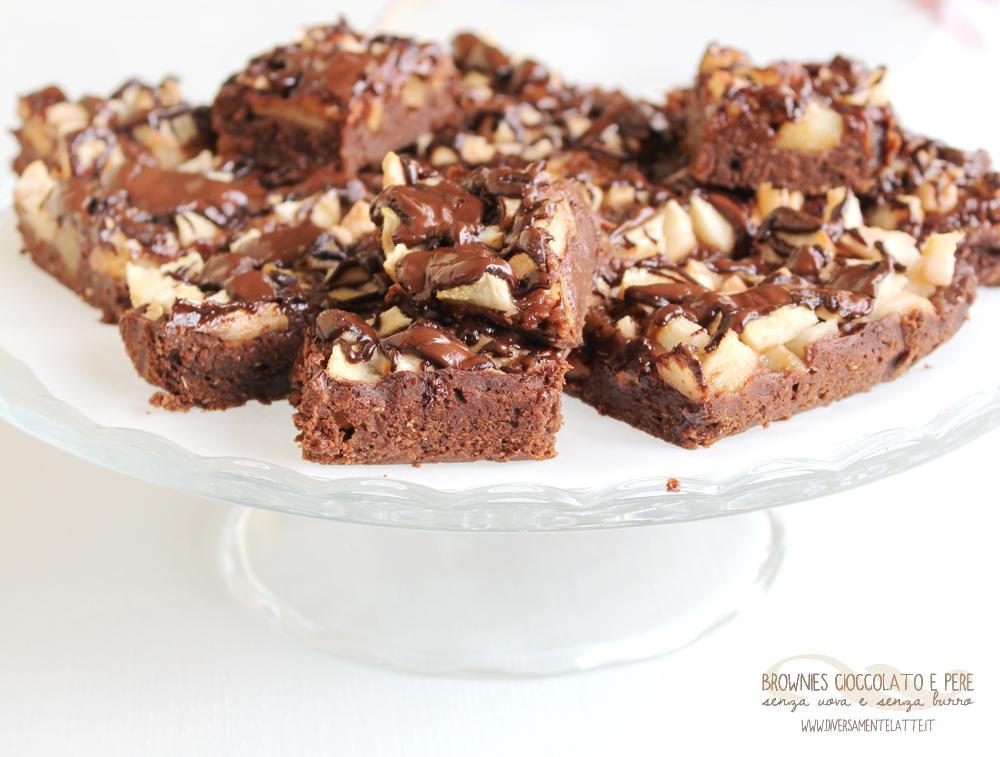 brownies cioccolato e pere senza lievito