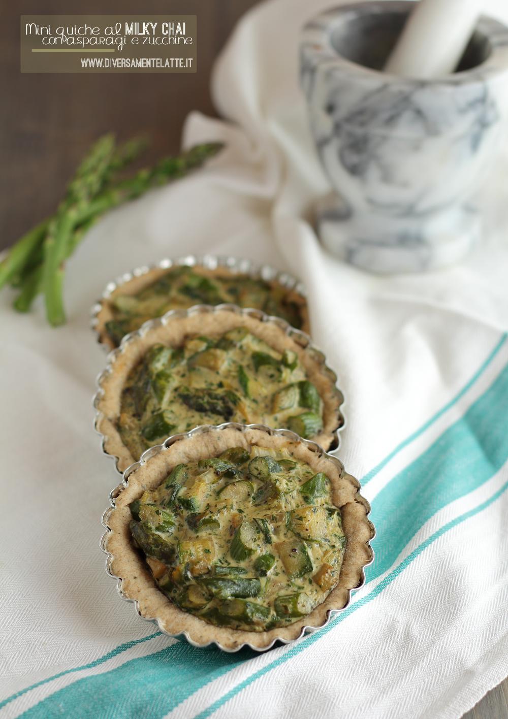 mini quiche al milky chai asparagi e zucchine