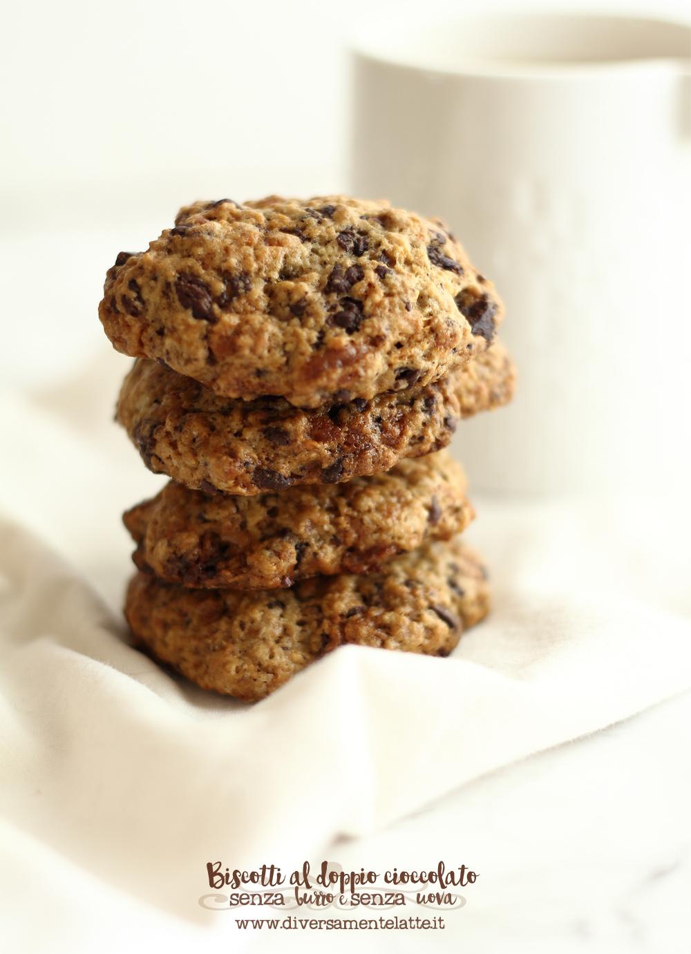 biscotti al doppio cioccolato senza burro e uova