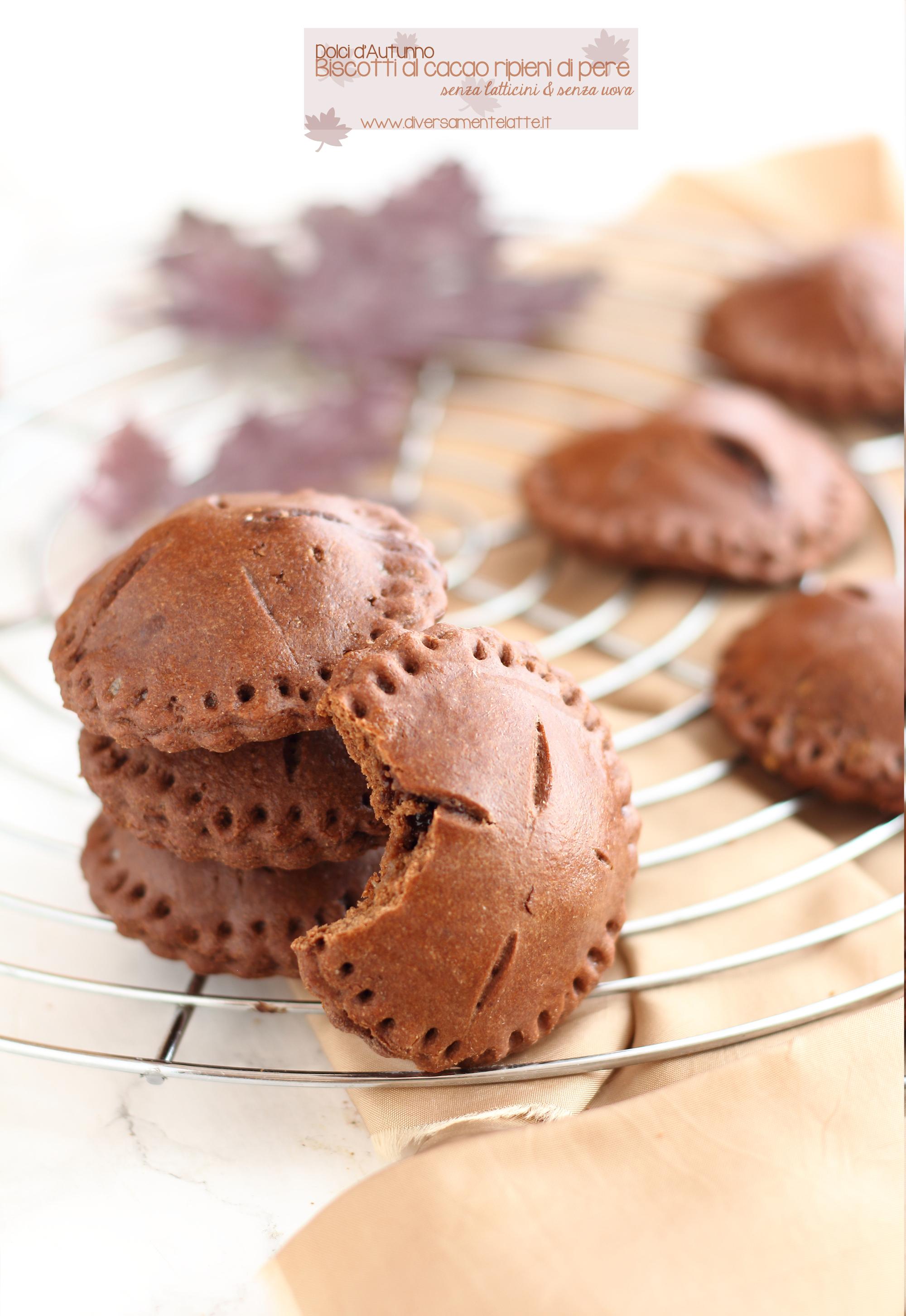 biscotti al cacao e pere senza latticini e senza uova