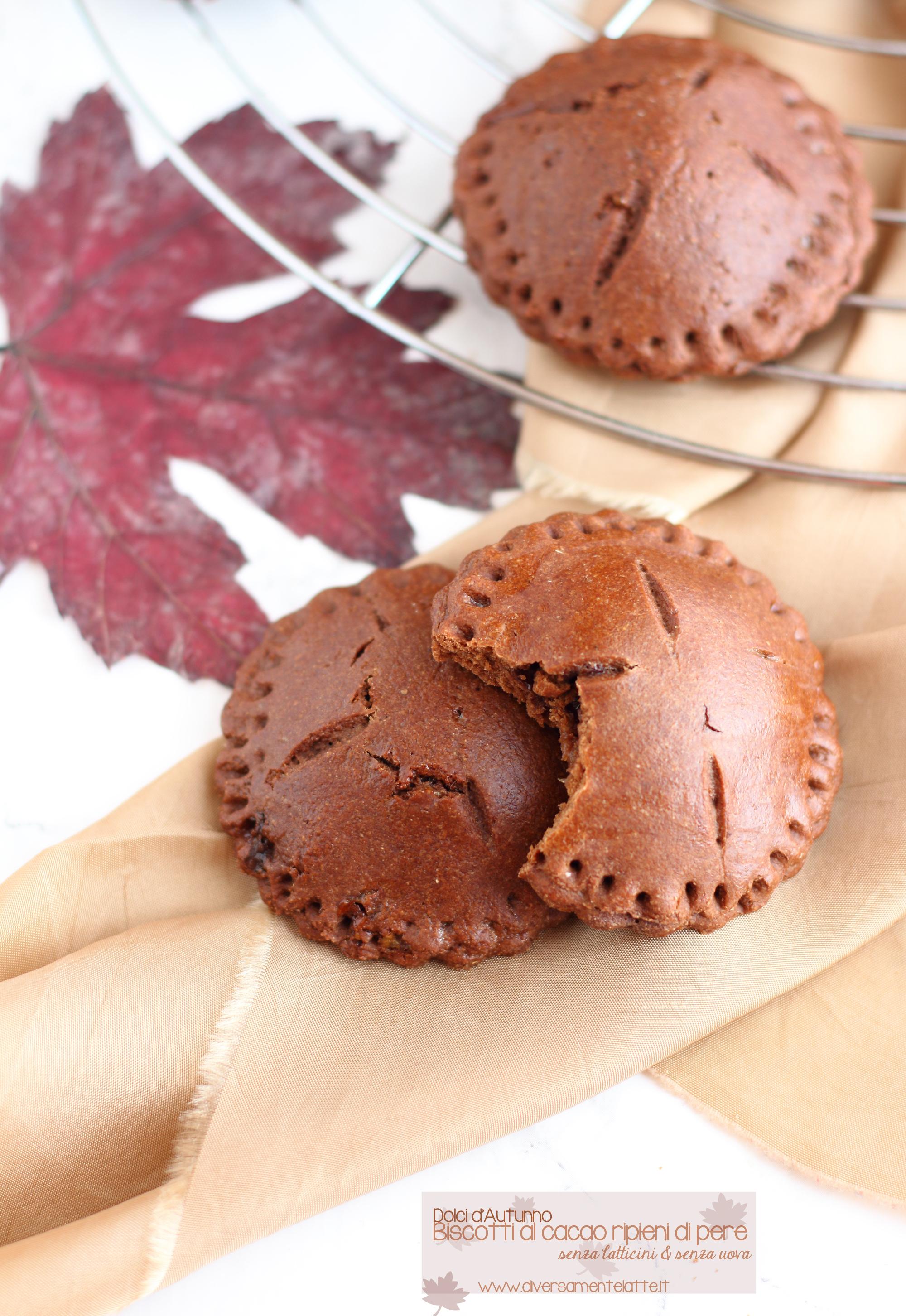 biscotti al cacao ripieni di pere
