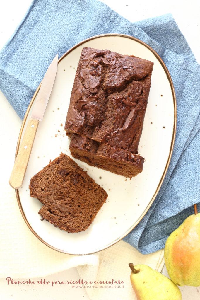 plumcake pere ricotta e cioccolato