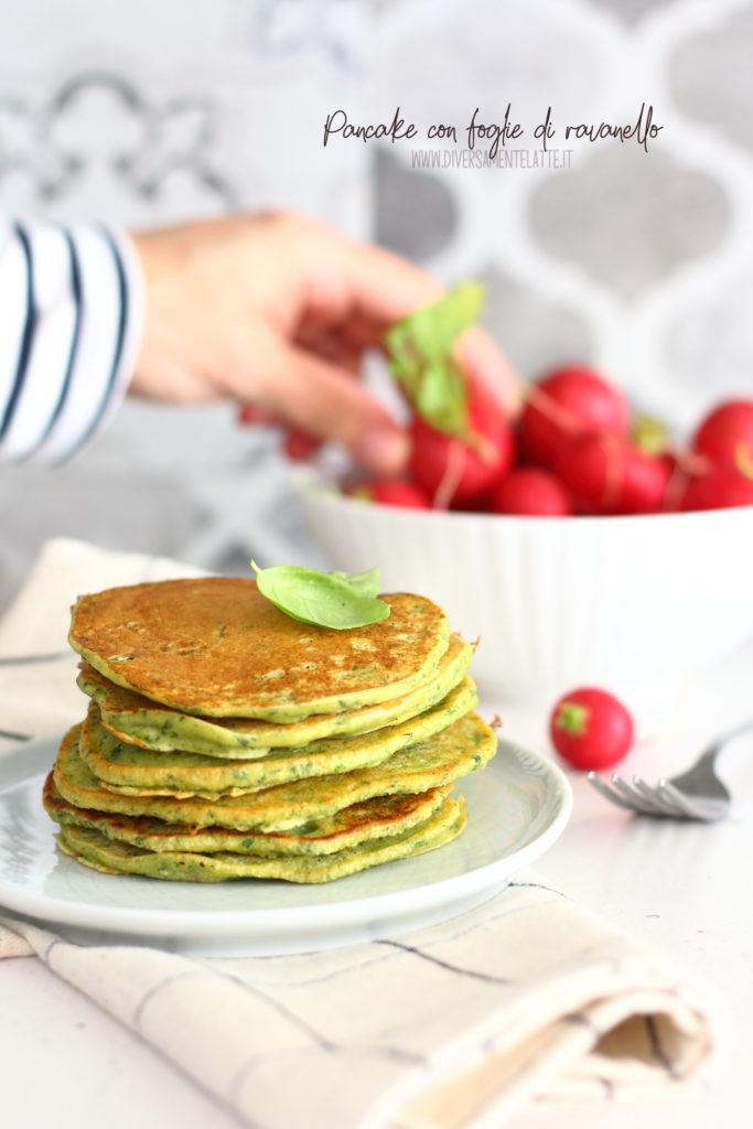 pancake con foglie di ravanello
