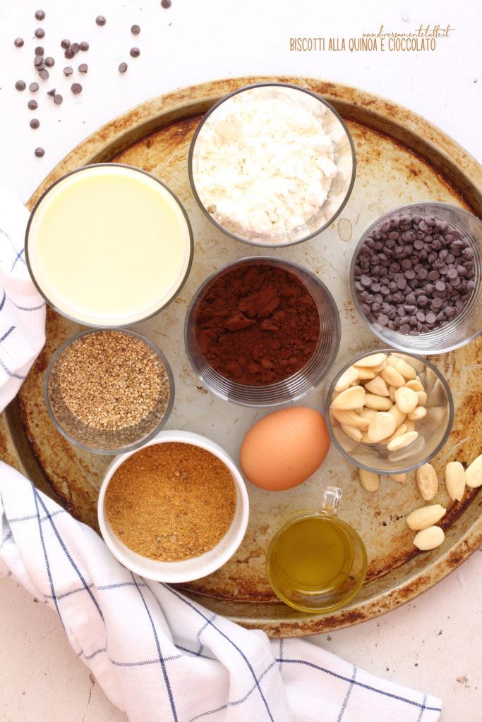 ingredienti biscotti alla quinoa e cioccolato